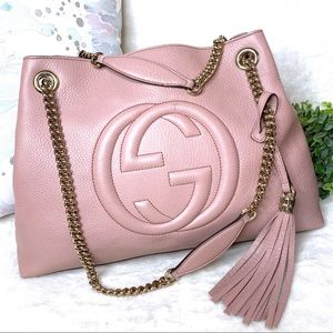 Gucci Soho Mauve Pink Pebbled Leather Hobo Bag